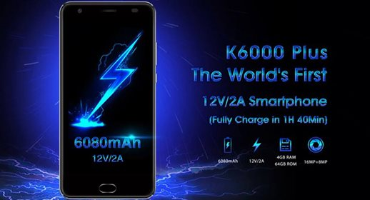 Oukitel K6000 Plus 5.5'' Android 7.0 4GB RAM 64GB ROM MT6750T Octa-Core 1.5GHz 6080mAh 4G