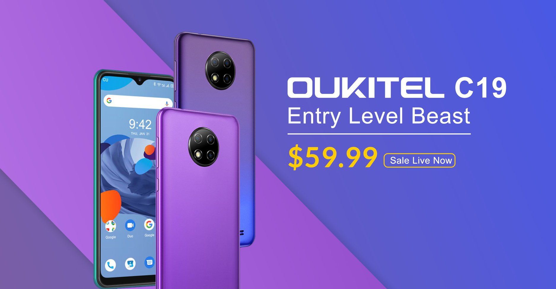 The most affordable triple camera, entry level beast #OUKITEL #C19 now available at $59.99 only.😍 C19 available in multiple colors. Now let your phone express itself. Don't miss this deal🔥...