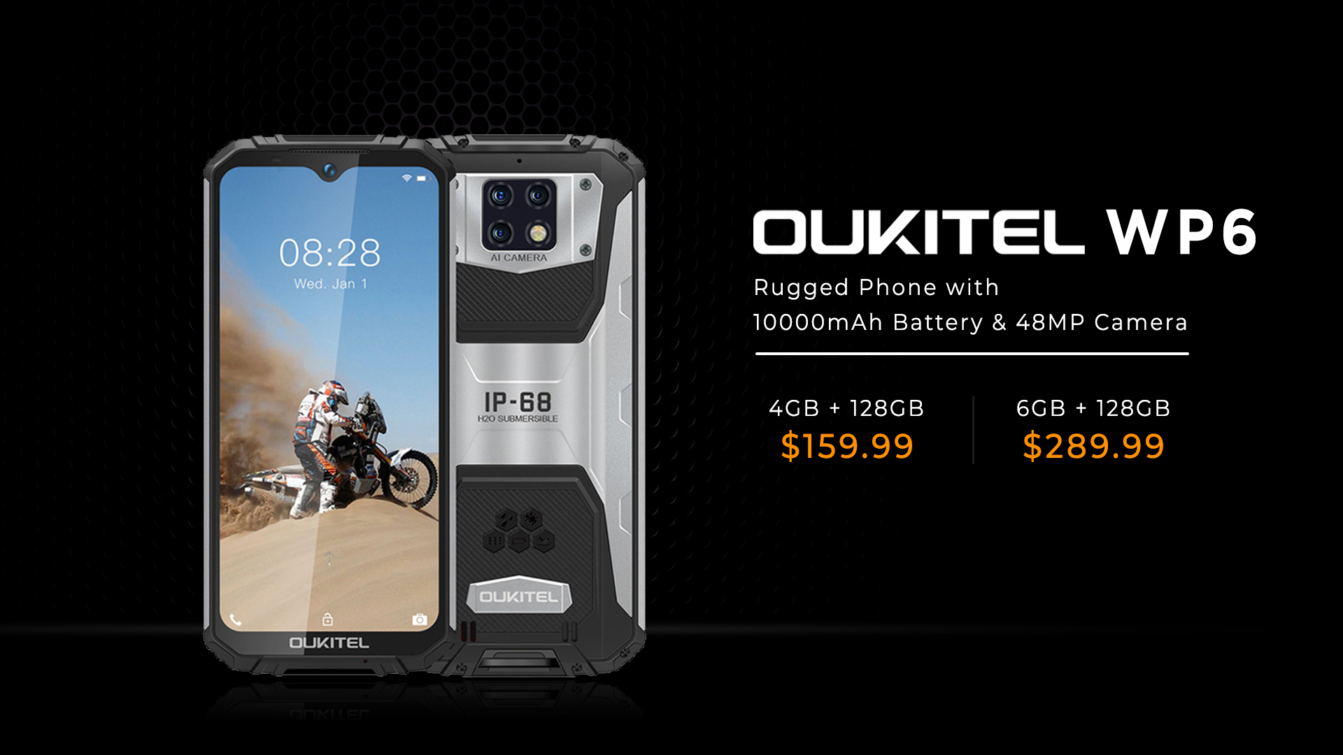 #OUKITEL #WP6 first rugged phone with 10000mAh battery and 48MP triple camera, now available in 4GB RAM variant.🤩 Don't miss this deal at $159.99 only🔥