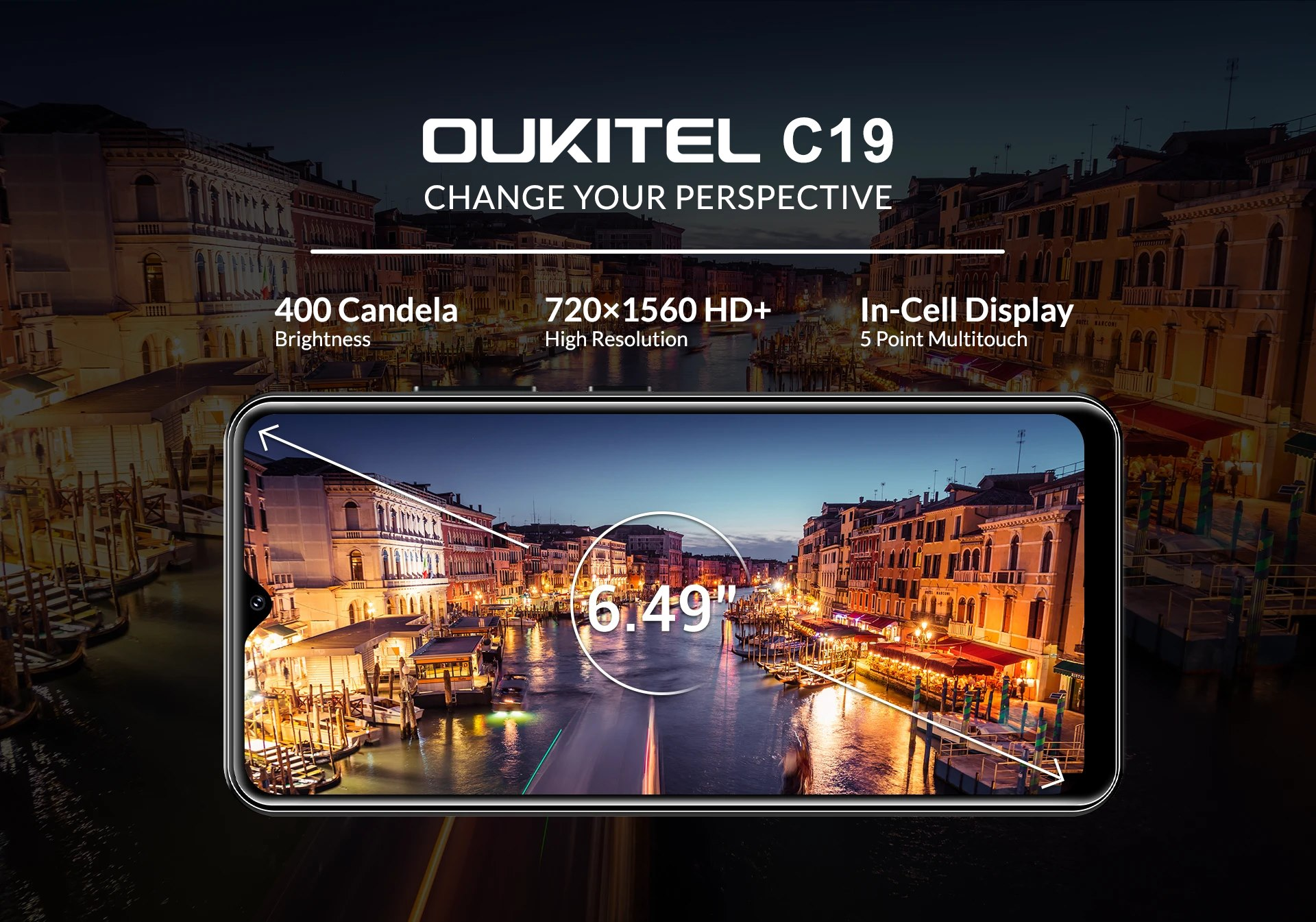"Change your viewing perspective with the astounding 6.49"" immersive HD+ water-drop style display of #OUKITEL #C19🥰 #OukitelC19 now available at a shocking price of $59.99 only🔥"