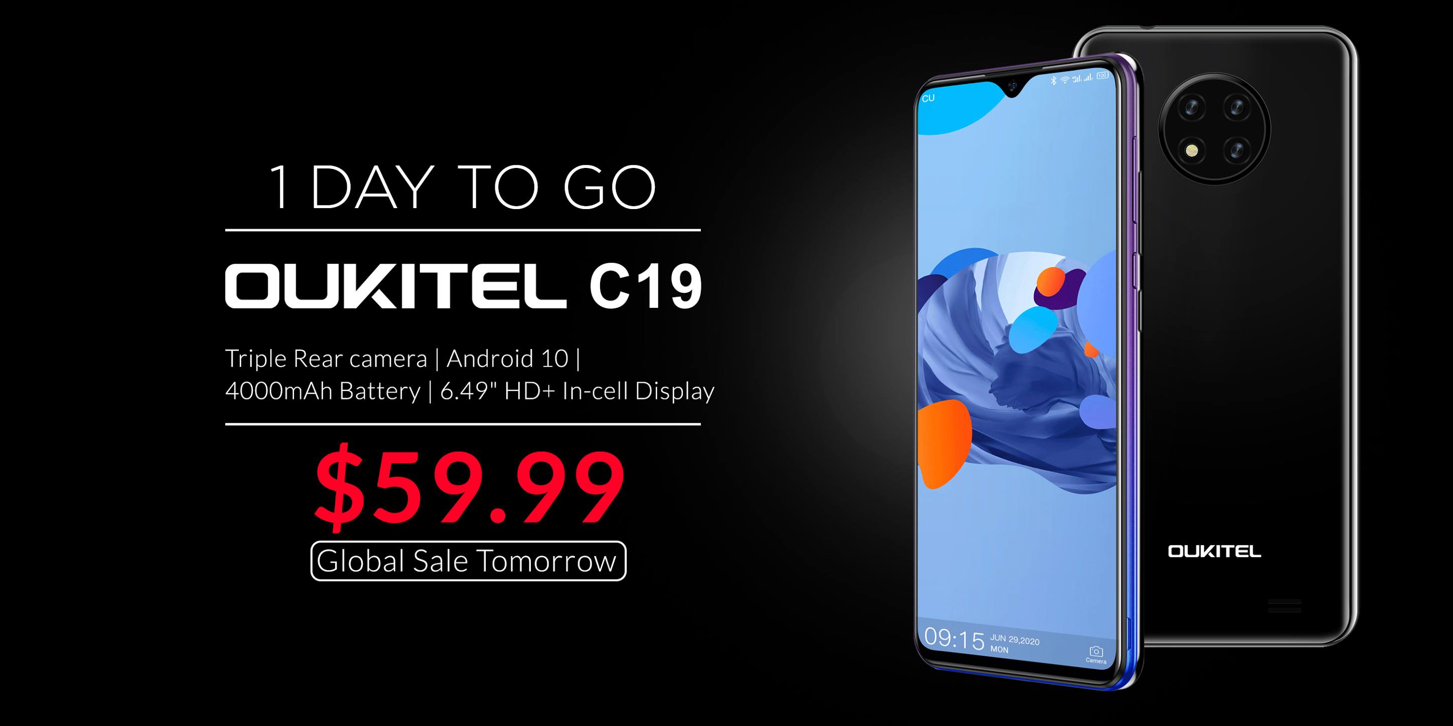 One day to go📣 Entry Level Beast #OUKITEL #C19 will available at $59.99 from tomorrow. Don't miss this deal👉...