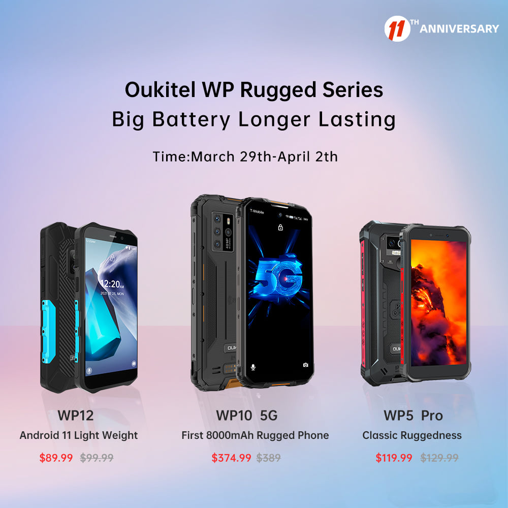 Get the best price during AliExpress' 11th Anniversary promotion. Add #Oukitel WP rugged series to cart to have the chance to win the smart watches.
