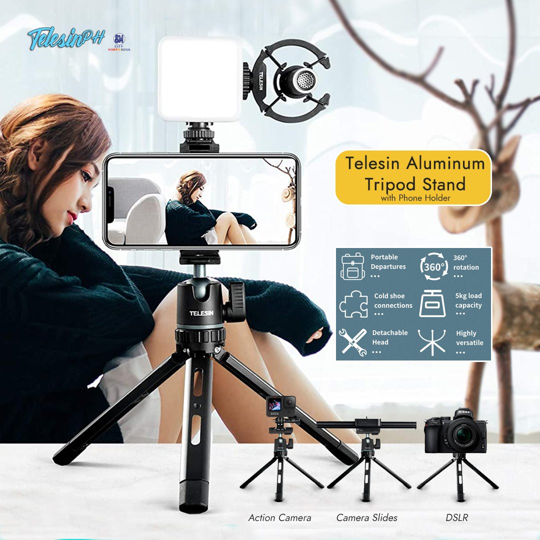 Capture your best angle, hands-free with Telesin Aluminum Tripod Stand! It comes with a built-in phone clip holder for a mobile device and compatible with Action Cameras, DSLR, and Camera Slide. Perfect for Vlogging, Picture Taking, and Videography. Get it here for only ₱569!...
