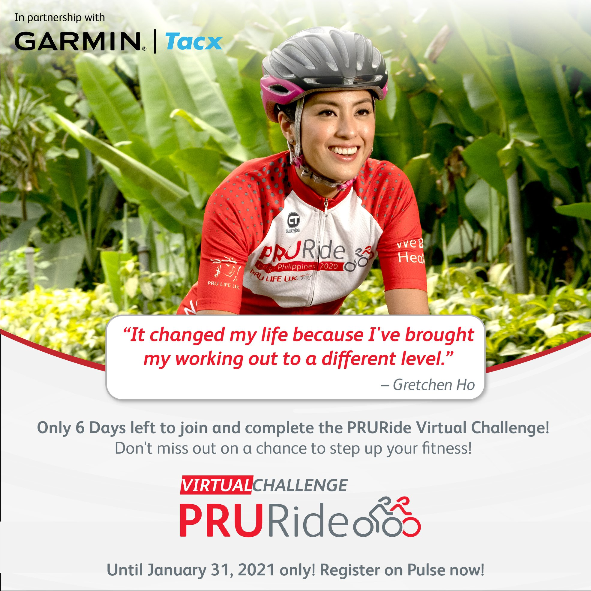 Only 5 days to go! Over 5,000 prizes up for grabs!  Experience a fun and exciting cycling experience with your family and friends in the PRURide Virtual Challenge
