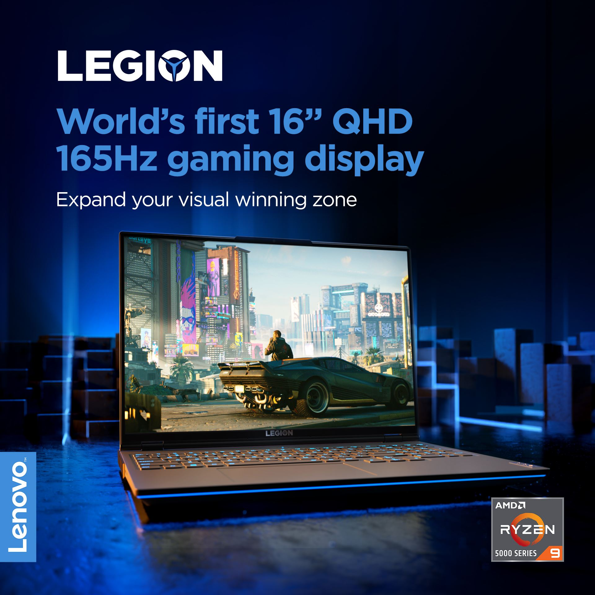 "Get yourself a display with greater gaming real estate and gorgeous visuals. The World's first 16"" QHD 165Hz gaming display is powered by @AMD Ryzen™ 5000 H-Series Mobile Processors and clocks under 3ms response times."