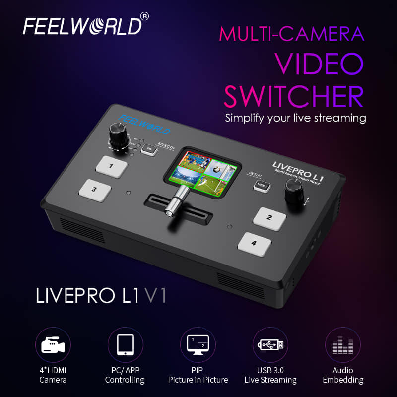 FEELWORLD update LIVEPRO L1 to the new version LIVEPRO L1 V1, it not only changes the appearance, which is lighter and easier to dissipate heat but also optimize some program and function.  It will give you more comfortable and amazing using feeling.