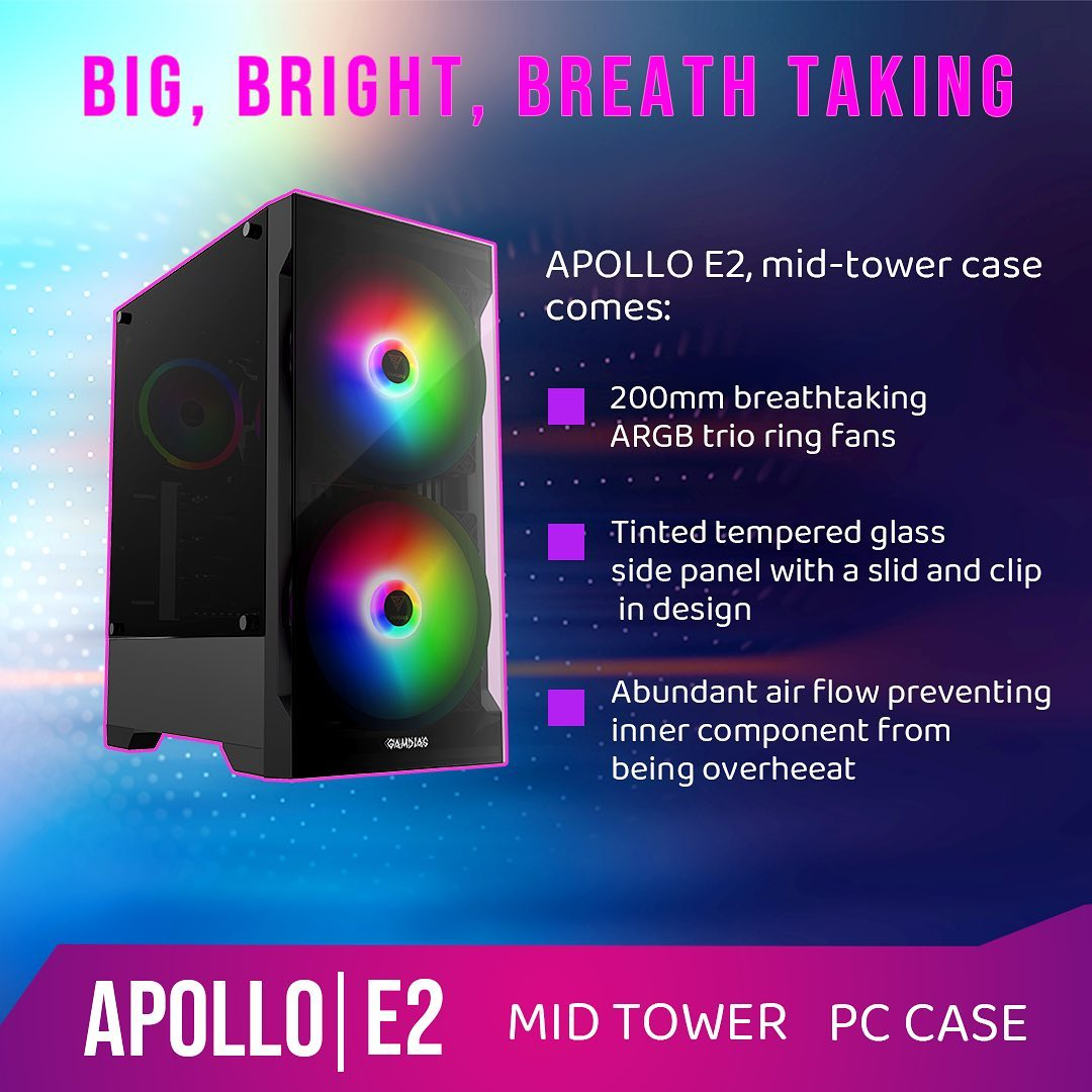 APOLLO|E2 Mid-Tower PC Case The clean look with outstanding 200mm fans! ❄️Keep it cool! ✨Keep it clean!... ===========================