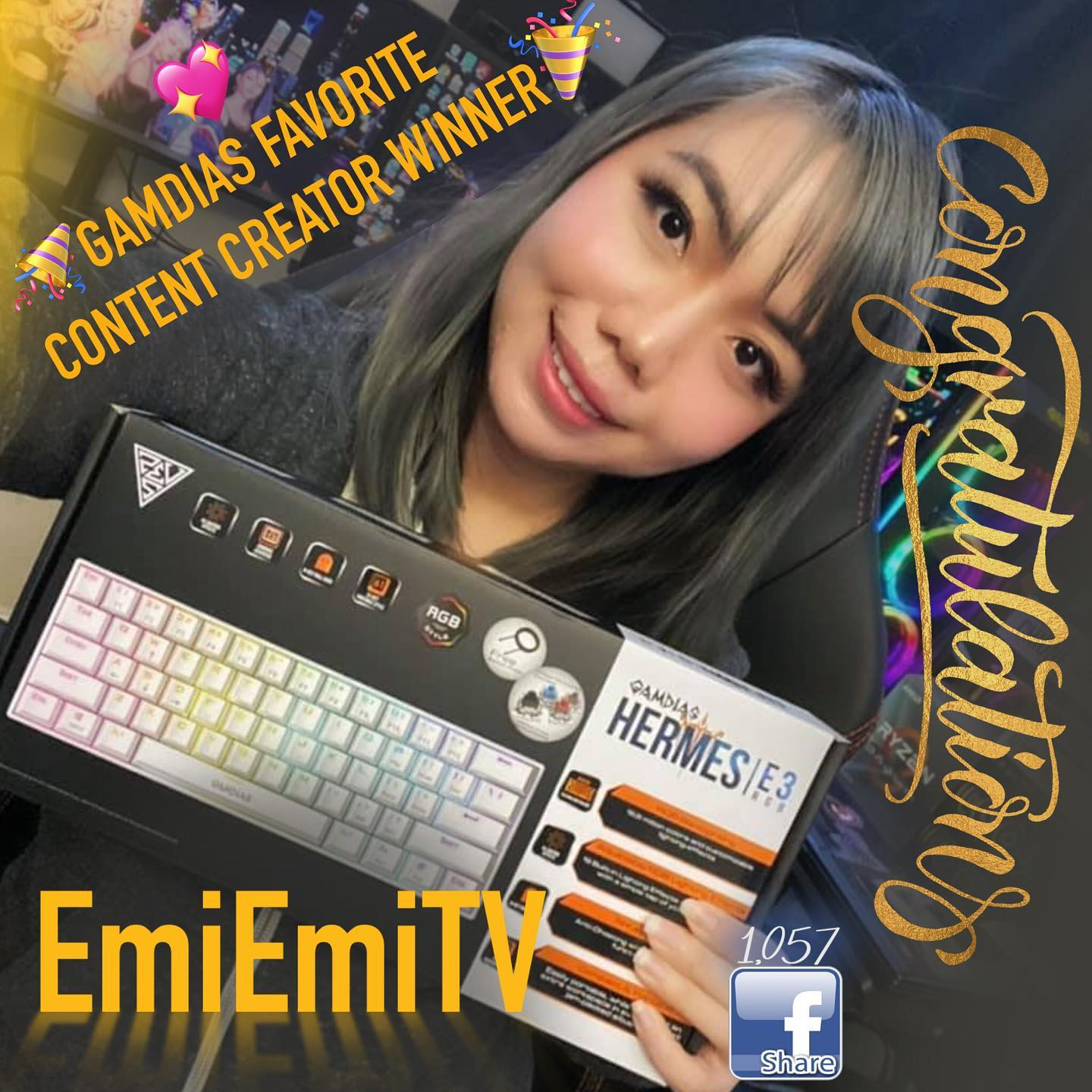 "🎉Congratulations to EmiEmiTV @emiemitv12  for winning our ""Your Favorite GAMDIAS Content Creator"" event!!🎉 Garnering 1057 total shares!"